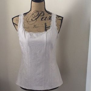Size M WHBM beige corset lace style top